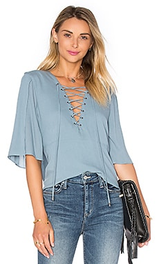 Lovers + Friends Boulevard Top in Dusty Blue
