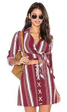 Lovers + Friends Valley Top in Cranberry Stripe