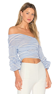 x REVOLVE Bow Blouse in Blueberry Stripe