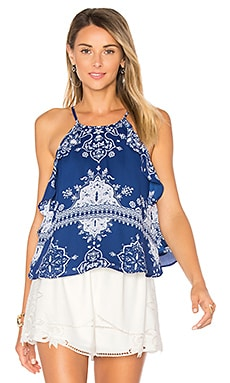 Tropics Top in Blue Temple Scarf