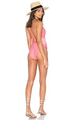 Lovers + Friends Love to Love You One Piece in Neon Coral