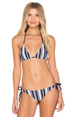 Lovers + Friends Stripe Me Down Top in Navy & Silver Stripe
