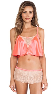 Love Haus by Beach Bunny Lovely Eyelash Cami in Neon Coral & Nude