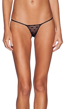 Love Haus by Beach Bunny Tricot Dot Thong in Black