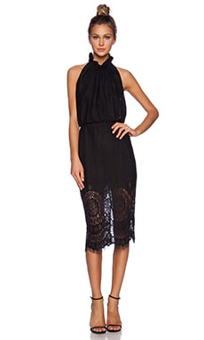 Lover Heather Fitted Halter Dress in Black