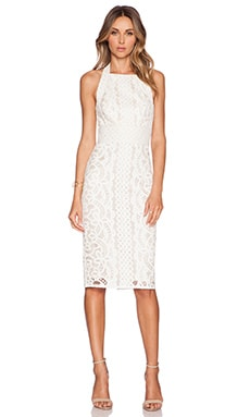 Lover Poppy Halter Midi Dress in Ivory