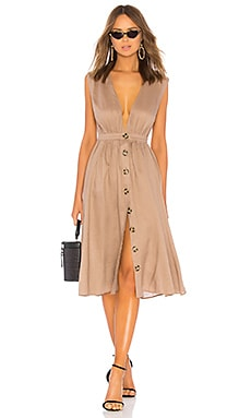Shirred Button Up Dress LPA $218 NEW ARRIVAL