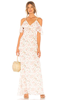 Фото - Макси платье ruffle neckline - LPA белого цвета
