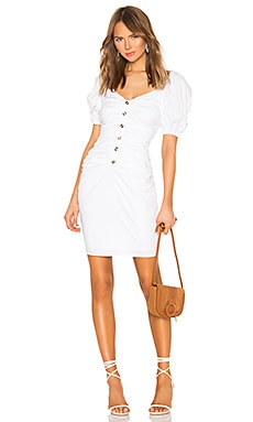 Shirred Button Up Dress With Puff Sleeve LPA $228