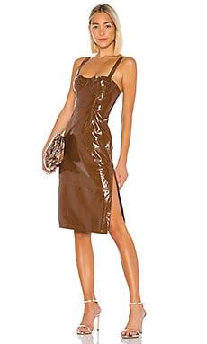 Ophelia Leather Midi Dress LPA $498