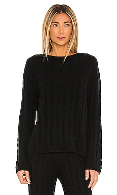 Cashmere Cable Knit Crew Sweater LPA $328
