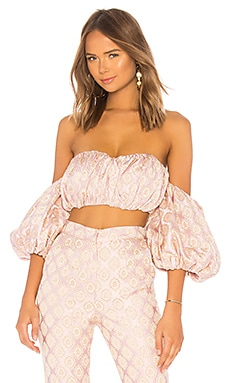 Shirred Bustier With Puff Sleeves LPA $128