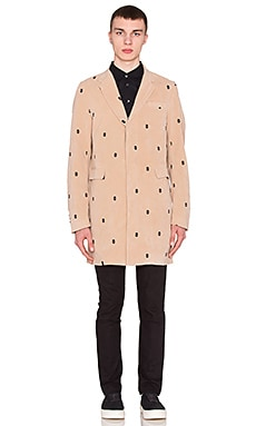 LPD New York Ski Mask Button Overcoat in Khaki
