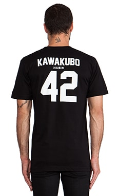 LPD New York Kawakubo Tee with White Print in Black