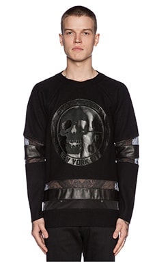 LPD New York Long Sleeve Jersey with Leather Patch in Black