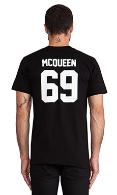 LPD New York McQueen Tee with White Print in Black
