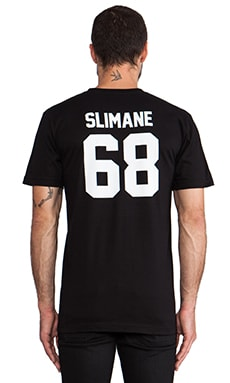 LPD New York Slimane Tee with White Print in Black
