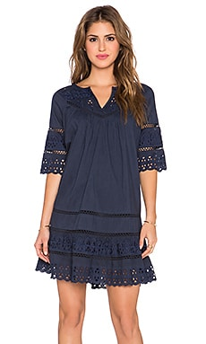 Love Sam Embroidered Eyelet Mini Dress in Midnight