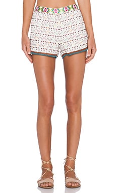 Love Sam Imari Yucatec Emb Shorts in Ivory & Multi Color