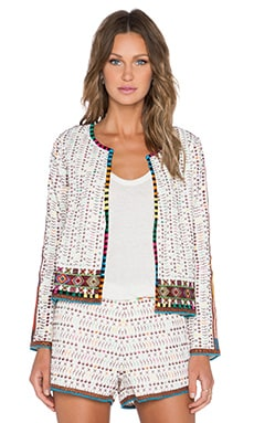 Love Sam Zula Yucatec Emb Jacket in Ivory with Multi Color