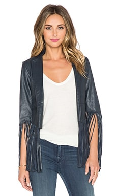 Love Sam Leather Fringe Jacket in Navy
