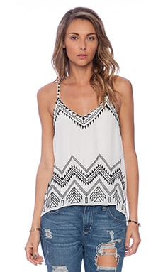 Love Sam Alex Embroidered Cami in White & Black