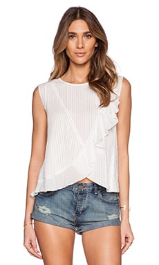Love Sam Zoila All Over Pintuck Sleeveless Top in White