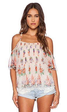 Love Sam Ava Cold Shoulder Top in Peach Combo