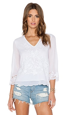 Love Sam Maite Deep V Blouse in White