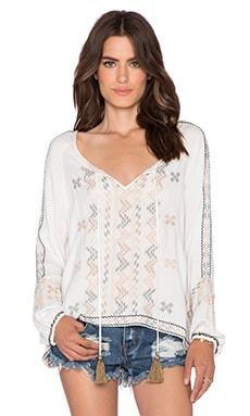 Love Sam Aztec Embroidered Top in Ecru