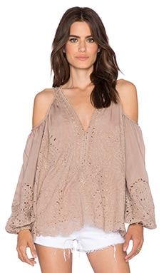 Love Sam Eyelet Cut Out Embroidered Top in Beige