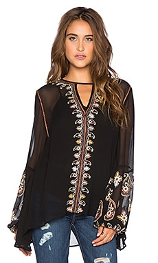 Love Sam Paisley Embroidered Top in Black Combo