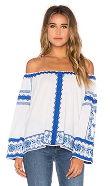 Love Sam Wanda Porcelain Floral Off the Shoulder Top in Blue & White