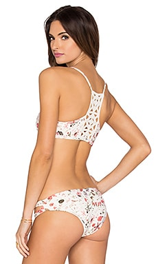 L*SPACE Bernie Liberty Love Bikini Top in Cream