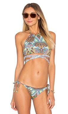 L*SPACE Lizzie Wrap Bikini Top in Multi