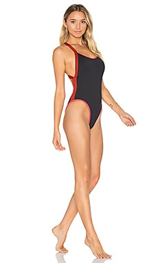 Flash One Piece Swimsuit, Hot Coral & Redwood in Black