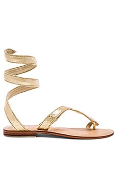 Snake Wrap Sandal in Gold