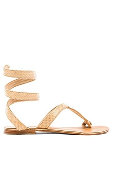 by Cocobelle Snake Wrap Sandal in Taupe