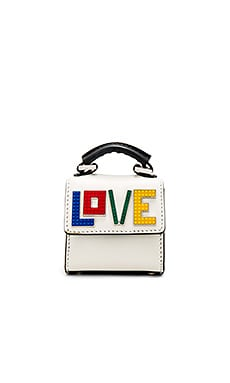 Alex Love Bag Charm in White & Black