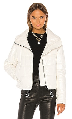 Cay Cropped Leather Puffer Jacket LTH JKT $695