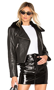 Liv Supreme Biker Jacket With Shearling Collar LTH JKT $750