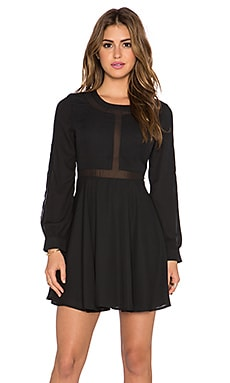 Lucca Couture Mesh Insert Babydoll Dress in Black