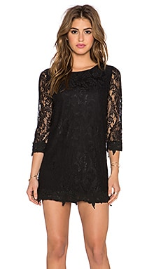 Lucca Couture 3/4 Sleeve Lace Dress in Black