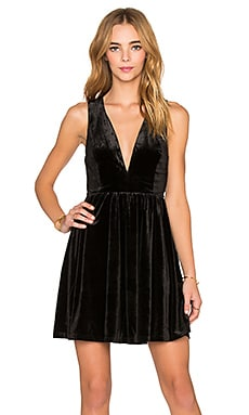 Lucca Couture V-Neck Velvet Dress in Black