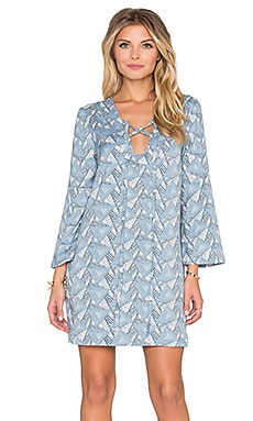 Lucca Couture Bell Sleeve Lace Up Shift Dress in White & Blue Triangle Mix Print