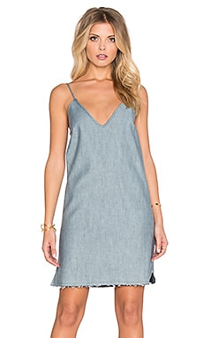 Lucca Couture Raw Hem Denim Slip Dress in Light Denim