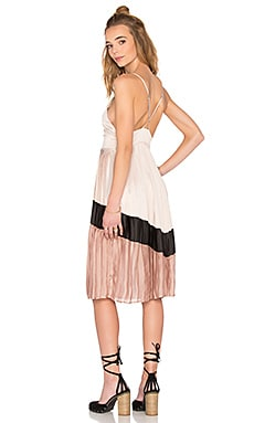 Lucca Couture Washed Satin Chevron Pleated Midi Dress in Nude Multi