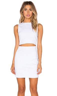 Lucca Couture Slash Waist Twill Dress in White