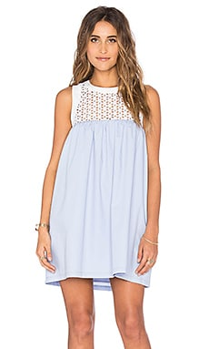 Lucca Couture Eyelet And Poplin Mix Tank Dress in Powder Blue