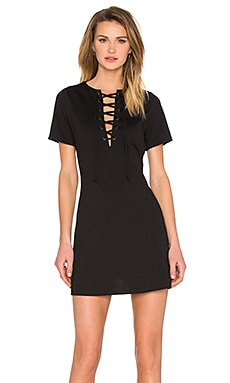 Lace Up Shift Dress in Black